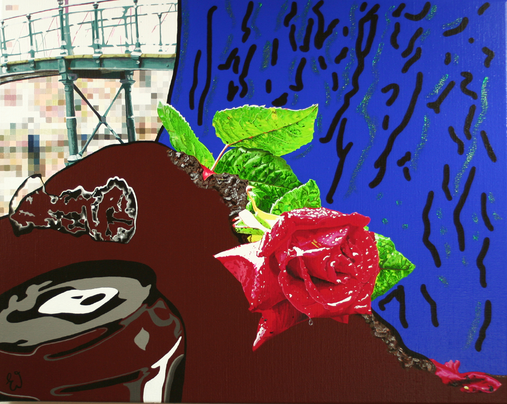 schilderij Huilende roos