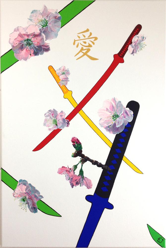 schilderij Katana en sakura