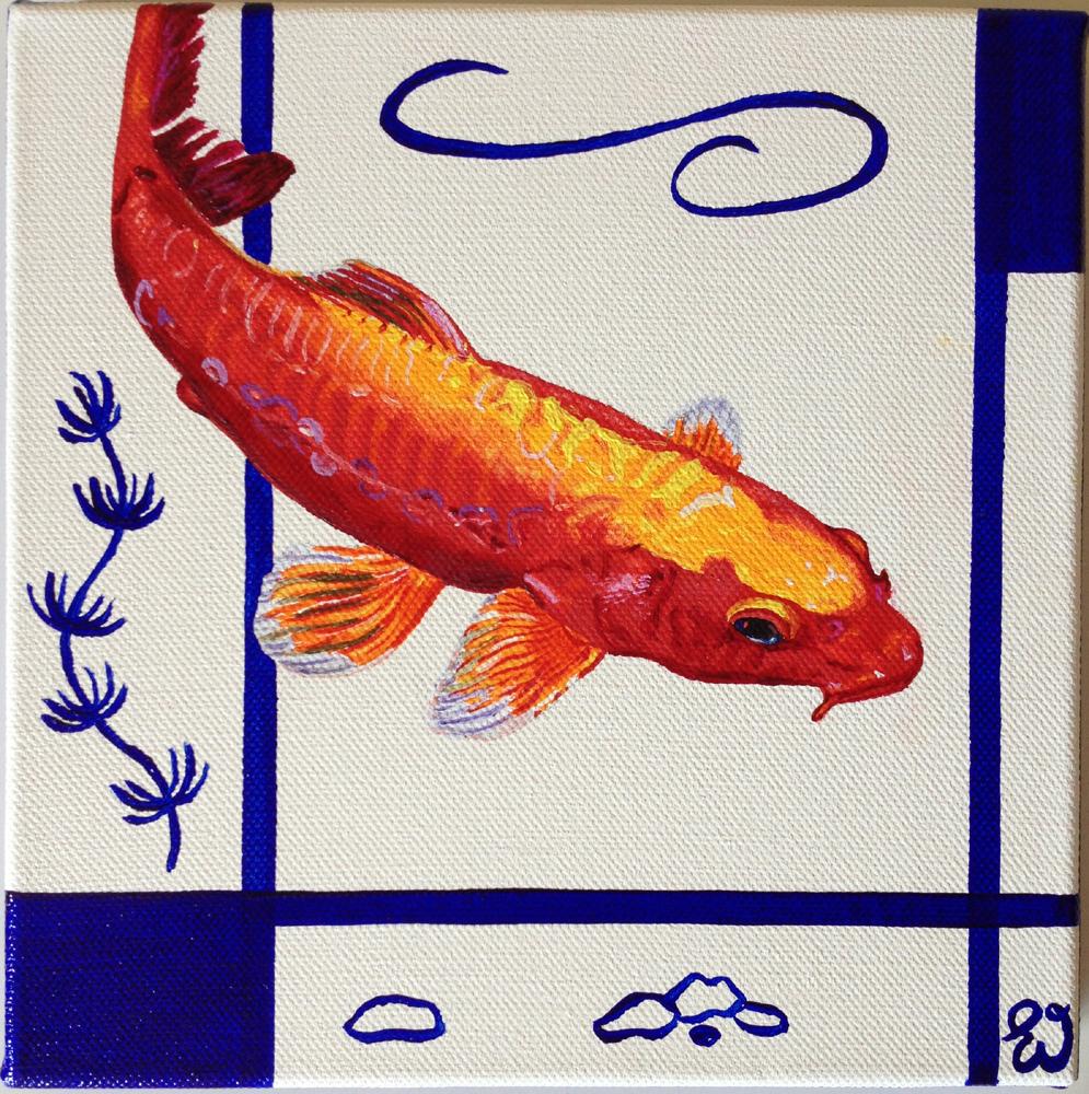 schilderij Koi karper rood