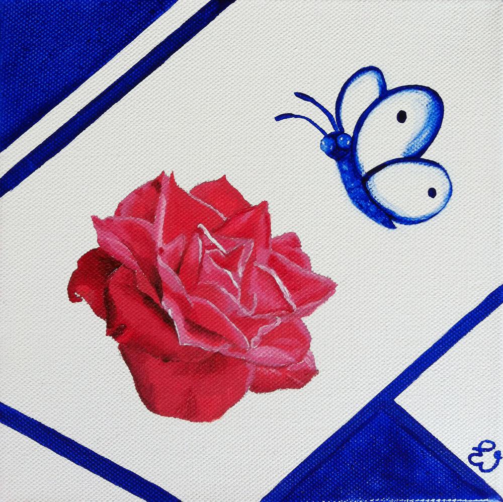 schilderij Roos met vlinder