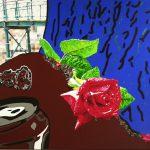 Schilderij Huilende roos door Eline Vulsma