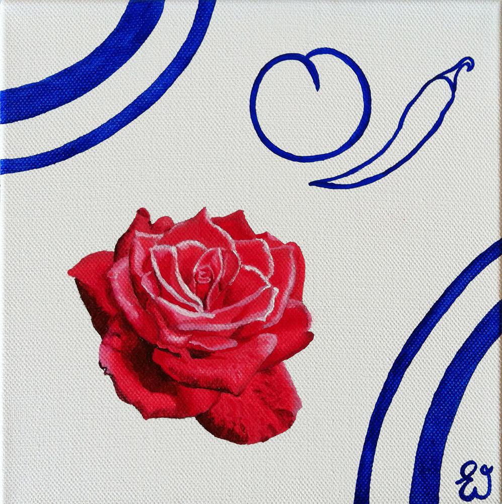 schilderij Roos met perzik en peper