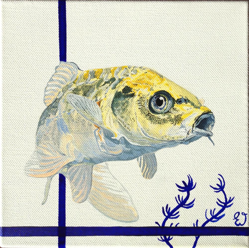 schilderij Koi karper geel
